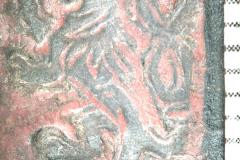 A címerbe nyomott oroszlánbélyegző (10x-s nagyításban)
