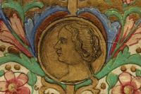 Portrait of Queen Beatrix in the medallion of the frame of the frontispiece