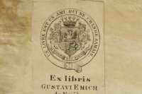 Before restoration performed in NSZL, Gusztáv Emich's bookplate, printed on paper, had been pasted on the inner face of the left board; during restoration it was placed on the paste-down