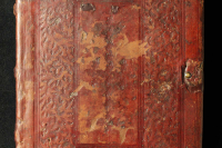 Left board with blind-tooled decoration