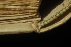 Az oromszegő vászonalap mögött futó pergamenszalagját áthúzták a nyíláson
