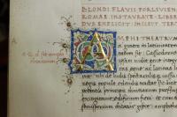 Az A iniciálé csillogó laparanyozása