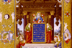 Codex page with the busts of King Matthias Hunyadi and Queen Beatrix (frontispiece of missal) Parchment, tempera, gold; sheet size: 40×28.4 cm Bruxelles, Bibliotheque Royale Ms. 9008, fol. 8v.  Missale Romanum