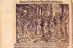 King Matthias Hunyadi's coronation in Székesfehérvár (book page) Paper, woodcut; sheet size: 10.9×15 cm National Széchényi Library, Collection of Early Printed Books, Ant. 224, fol. 283v Bonfini, Antonio: Ungarische Chronica. Frankfurt am Main, durch Peter Schmidt, in Verlegung Sigmund Feyerabendts, 1581