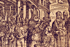King Matthias Hunyadi's coronation in Székesfehérvár (detail of book page) Paper, woodcut; sheet size: 10.9×15 cm National Széchényi Library, Collection of Early Printed Books, Ant. 224, fol. 283v Bonfini, Antonio: Ungarische Chronica. Frankfurt am Main, durch Peter Schmidt, in Verlegung Sigmund Feyerabendts, 1581