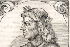 King Matthias Hunyadi's bust (detail of book page) Paper, woodcut; size of woodcut: 16.1 × 15.1 cm National Széchényi Library, Collection of Early Printed Books, App. H. 2562, p. 174 Giovio, Paolo: Elogia virorum bellica virtute illustrium. – Petri Pernae opera, 1575. (In fine:) Basileae, sumptibus Henrico Petri
