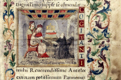 Ransanus offers his work to King Matthias Hunyadi (codex page) Parchment, tempera, gold; sheet size: 24.7×16.3 cm National Széchényi Library, Manuscript Collection, Cod. Lat. 249, 17v Ransanus, Petrus: Epitoma rerum Hungaricarum