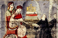 Ransanus offers his work to King Matthias Hunyadi (detail of codex page) Parchment, tempera, gold; sheet size: 24.7×16.3 cm National Széchényi Library, Manuscript Collection, Cod. Lat. 249, 17v Ransanus, Petrus: Epitoma rerum Hungaricarum