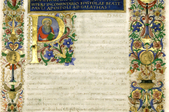 Decorative frontispiece with the busts of King Matthias Hunyadi and Queen Beatrix and with King Matthias Hunyadi's coat-of-arms  Parchment, tempera, gold; sheet size: 23.7x34.6 cm National Széchényi Library, Manuscript Collection, Cod. Lat. 347, fol. 2r Hieronymus, S.: Commentarii in Epistolas S. Pauli ad Galatas, ad Epheseos, ad Titonem, ad Philemonem. - Nicolaus de Lyra: Postilla super S. Pauli Epistolam ad Hebraeos