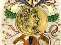 King Matthias Hunyadi's bust (detail of decorative frontispiece) Parchment, tempera, gold; sheet size: 23.7x34.6 cm National Széchényi Library, Manuscript Collection, Cod. Lat. 347, fol. 2r Hieronymus, S.: Commentarii in Epistolas S. Pauli ad Galatas, ad Epheseos, ad Titonem, ad Philemonem. - Nicolaus de Lyra: Postilla super S. Pauli Epistolam ad Hebraeos