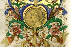 Bust of Queen Beatrix (detail of decorative frontispiece) Parchment, tempera, gold; sheet size: 23.7x34.6 cm National Széchényi Library, Manuscript Collection, Cod. Lat. 347, fol. 2r Hieronymus, S.: Commentarii in Epistolas S. Pauli ad Galatas, ad Epheseos, ad Titonem, ad Philemonem. - Nicolaus de Lyra: Postilla super S. Pauli Epistolam ad Hebraeos