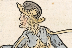 Standing portrait of King Matthias Hunyadi (detail of book page) Paper, woodcut; sheet size: 38.5×25.8 cm National Széchényi Library, Collection od Early Printed Books, Inc. 466, D2r Johann Lichtenberger: Prognosticatio. – [Heidelberg, Heinrich Knoblochtzer, after April 1, 1488]