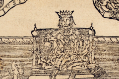 King Matthias Hunyadi sitting on the throne (book page) Paper, woodcut; sheet size: 10×16 cm National Széchényi Library, Collection of Early Printed Books, RMK I. 118, fol. 113v Gáspár Heltai: Chronica az Magyaroknac dolgairol (Chronicle of the Hungarans' Past Deeds). Kolozsvár, 1575