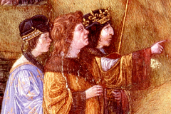 King Matthias Hunyadi – between Charles VIII, King of France and an unknown person (John Corvinus?) (Detail of Bible illustration) Parchment, tempera and gold; sheet size: 53.3×36.7 cm;   Florence, Biblioteca Medicea Laurenziana, Plut. 15.  Cod. 17, fol. 3v, third volume of the Bible