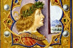 Hunyadi Mátyás mellképe (misekönyv címlapja, részlet) Pergamen, tempera, arany; lapméret: 40×28,4 cm Bruxelles, Bibliotheque Royale Ms. 9008, fol. 8v.  Missale Romanum