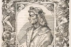 Hunyadi Mátyás mellképe (könyvoldal) Papír, fametszet; a metszet mérete 16,1 × 15,1 cm Országos Széchényi Könyvtár, Régi Nyomtatványok Tára, App. H. 2562, 174. o. Giovio, Paolo: Elogia virorum bellica virtute illustrium. – Petri Pernae opera, 1575. (In fine:) Basileae, sumptibus Henrico Petri