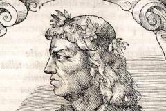 Hunyadi Mátyás mellképe (könyvoldal részlete) Papír, fametszet; a metszet mérete 16,1 × 15,1 cm Országos Széchényi Könyvtár, Régi Nyomtatványok Tára, App. H. 2562, 174. o. Giovio, Paolo: Elogia virorum bellica virtute illustrium. – Petri Pernae opera, 1575. (In fine:) Basileae, sumptibus Henrico Petri