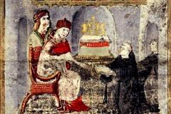 Ransanus felajánlja művét Hunyadi Mátyásnak (kódexoldal részlete) Pergamen, tempera, arany; lapméret: 24,7×16,3 cm Országos Széchényi Könyvtár, Kézirattár Cod. Lat. 249, 17v Ransanus, Petrus: Epitoma rerum Hungaricarum