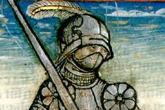 Hunyadi János képmása (könyvoldal részlete) Pergamen, színezett fametszet, lapméret: 13,4×10,8 cm Országos Széchényi Könyvtár, Régi Nyomtatványok Tára, Inc. 1143, r6 r Thuróczy János: Chronica Hungarorum. – Augsburg, Erhard Ratdolt, pro Theobald Feger, 3. Jun. 1488