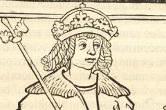 Hunyadi Mátyás trónon ülve (könyvoldal részlete) Országos Széchényi Könyvtár, Régi Nyomtatványok Tára, Inc. 668, fol. 147r Thuróczy János: Chronica Hungarorum. Brünn, [Konrad Stahel és Matthias Preinlein], 1488