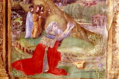 Hunyadi Mátyás – VIII. Károly francia király és egy ismeretlen (Corvin János?) között – a térdelő Dávid királyt és a Dávid király életéből vett jeleneteket ábrázoló miniatúrán (Bibliaillusztráció)  Pergamen, tempera és arany; lapméret: 53,3×36,7 cm;   Firenze, Biblioteca Medicea Laurenziana, Plut. 15.  Cod. 17, fol. 3v, Biblia harmadik kötete