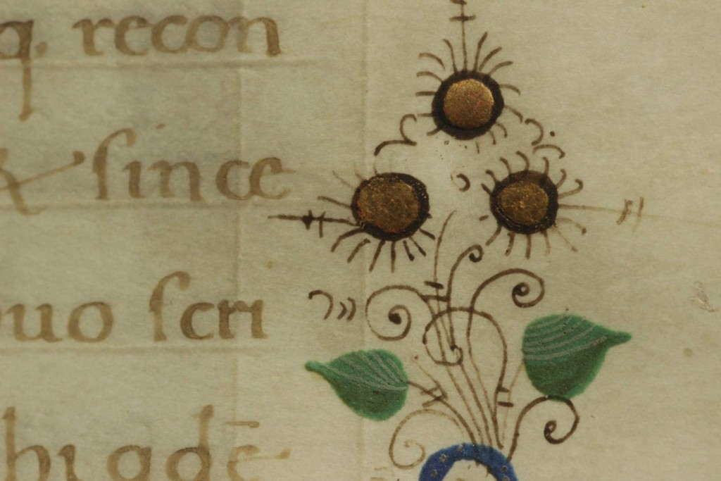 The place of lines was marked with incision on the parchment leaf
