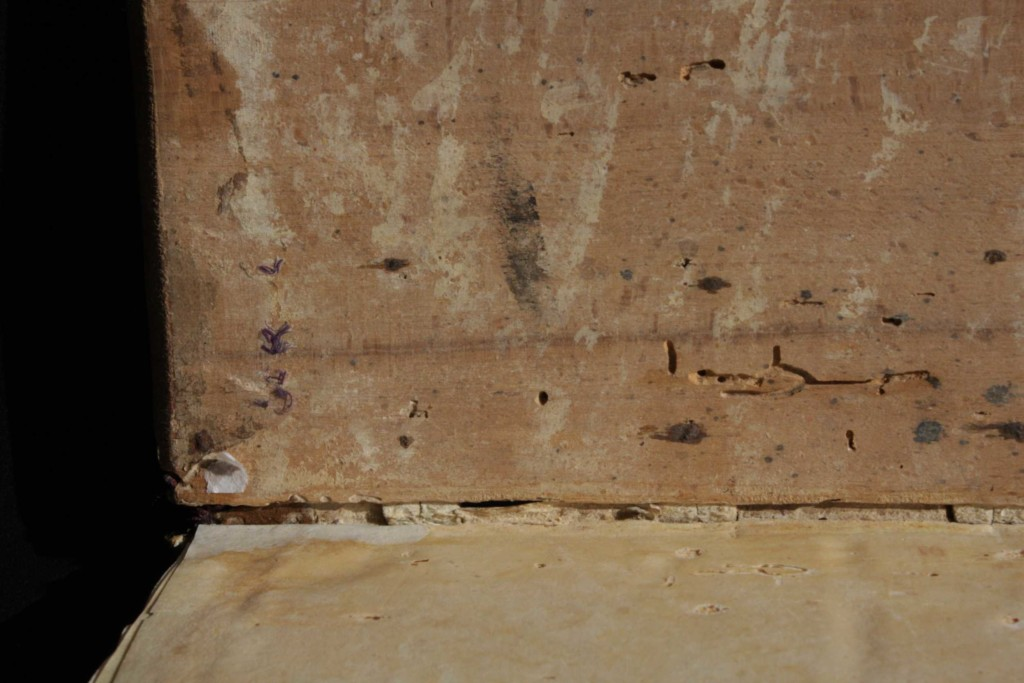 Traces of the iron nails fixing the sewing supports on the inner face of the board