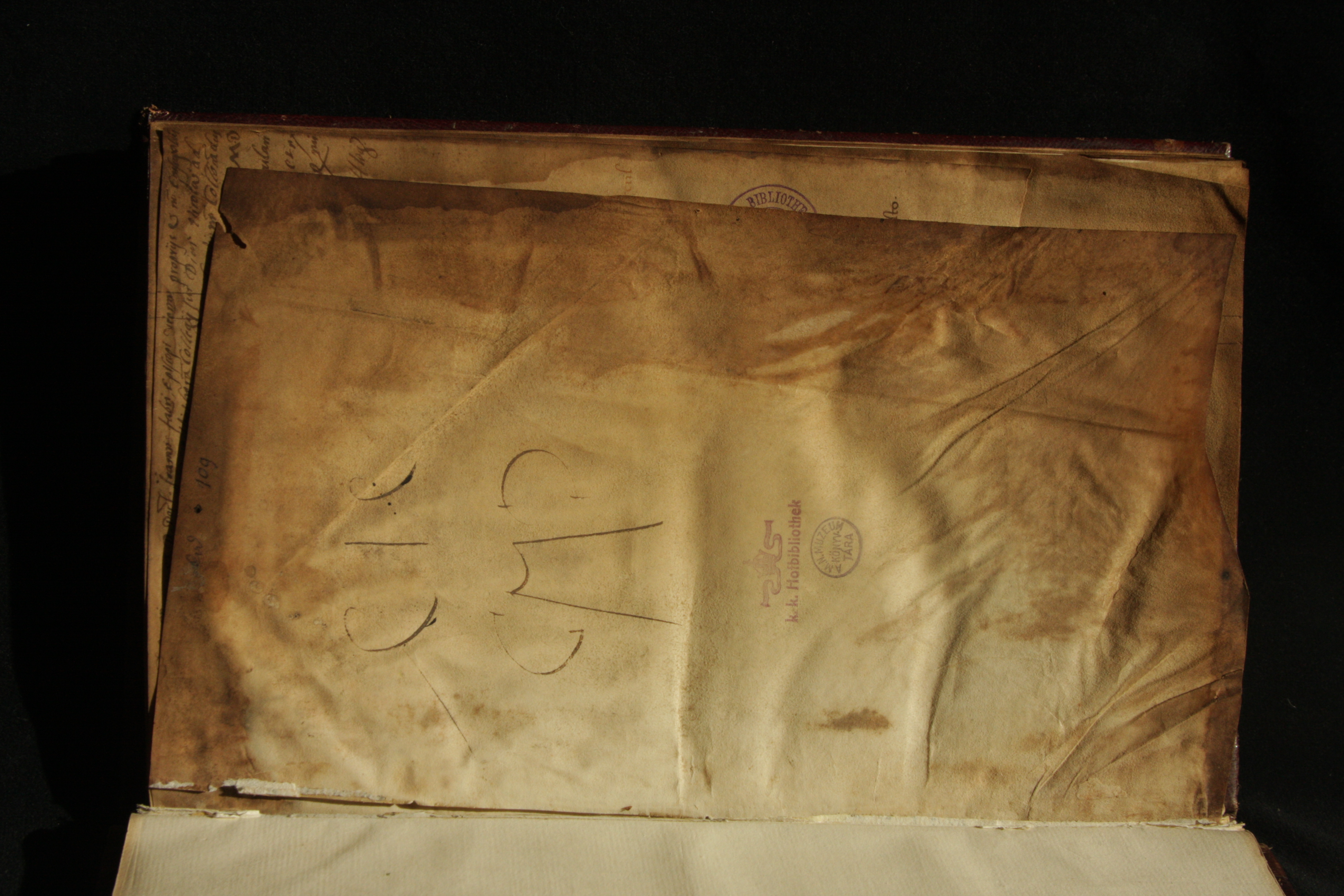 Parchment flyleaf from the endleaves at the left board, with an inscription by Johannes Cuspinianus on the recto