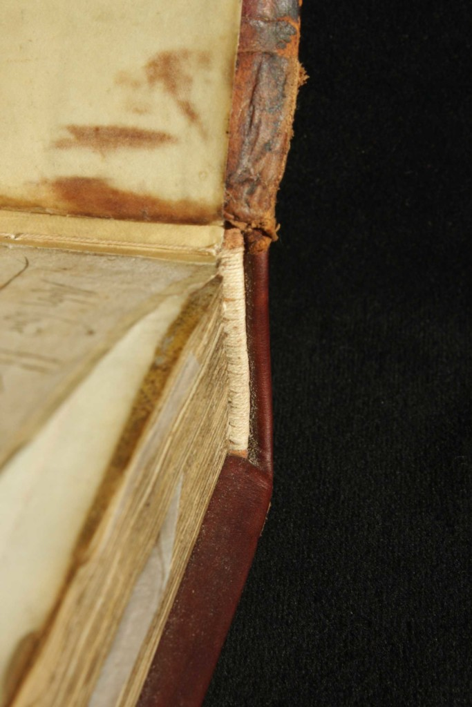 New endbands were sewn to the booklock during restoration.
