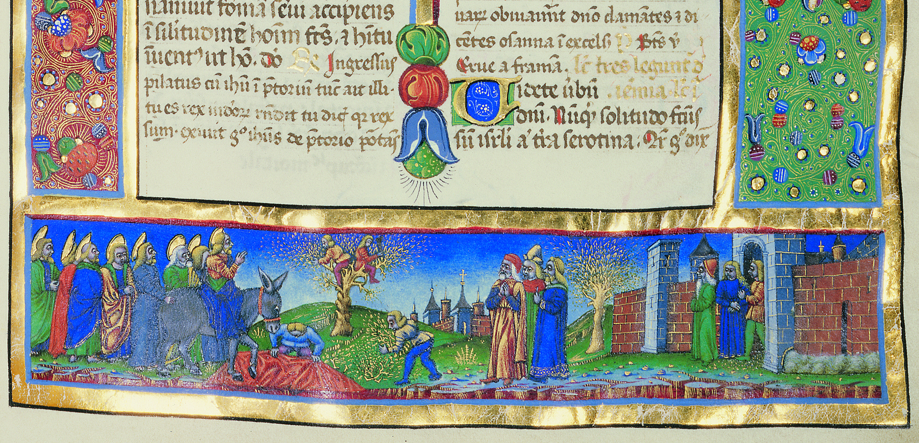 Main work made in Buda by Francesco Castello of Milan was the breviary of Domokos Kálmáncsehi, Provost of Székesfehérvár. The image displays Christ's march into Jerusalem on Palm Sunday celebration. Budapest, NSZL, OSZK Cod. Lat. 446., f. 169r, detail
