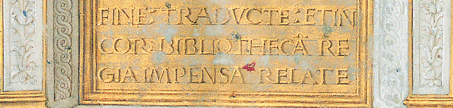 The term Bibliotheca Corvina occurs in the subject index of Philostratos corvina only once. Budapest, NSZL, OSZK Cod. Lat. 417., f. 1v, detail
