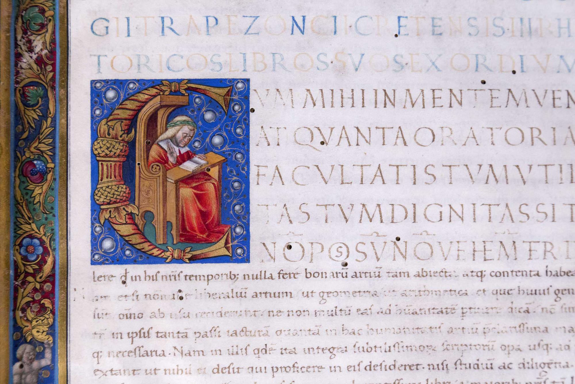 The corvina including Rhetorica by Byzantine humanist Georgius Trapezuntius was illuminated by Francesco Castello of Lombardy. Budapest, NSZL, OSZK Cod. Lat. 281., f. 1r, detail