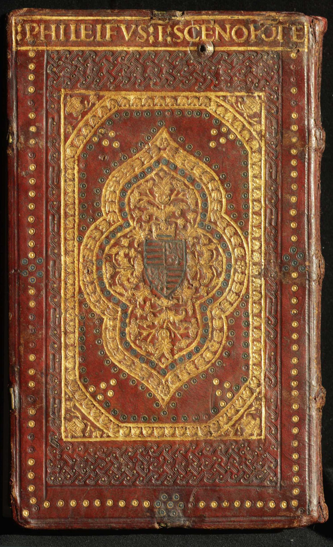 Hangsúlyozott középdíszes bőr corvinakötés háttáblája (OSZK, Cod. Lat. 422)